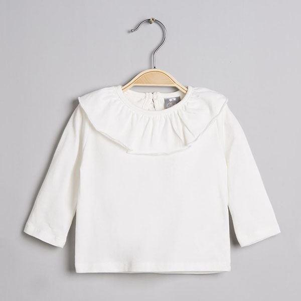 554283e51 Camiseta blanca bebe volante cuello