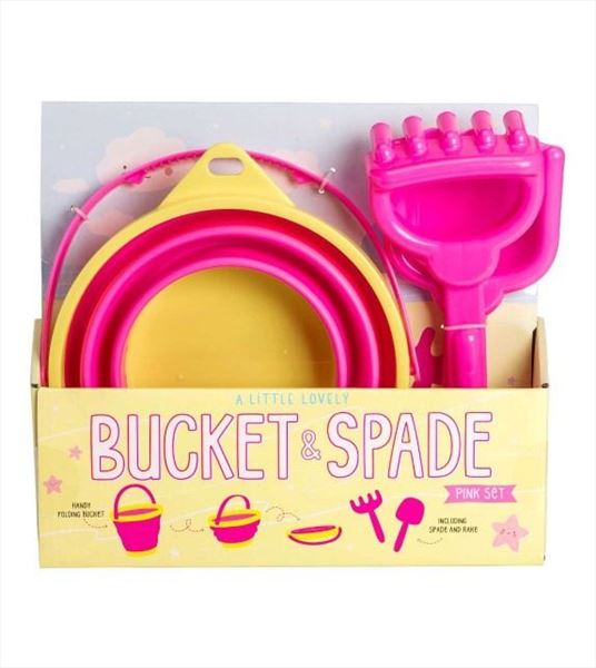 Set cubo plegable y palas en color rosa (6)