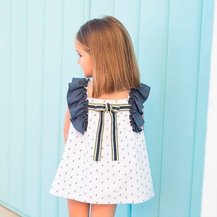 Eve Children Vestido blanco flamencos azules | Universo Mini